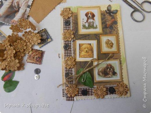 """Закончилась скрапбумага и нет многого другого, что нужно для создания открытки, а творить то хочется. Я делаю так, как покажу вам сейчас. Да простят меня Мастера - знатоки скрапбукинга! Я беру всё, что есть под рукой. Такую открытку я сделала сегодня. """"Собачки"""" - моя любимая тема. Тема возникла сама мо себе в процессе работы. фото 25"""