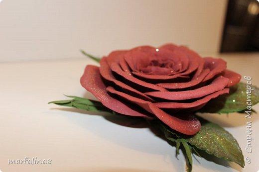 Здравствуйте, дорогие мастеряне! Представляю на ваш суд мое четвертое творение из фома. Это брошь. Выкройку для этой розы делала сама. Ничей МК НЕ использовала. Хочу подарить свекрови на 8 марта. фото 2