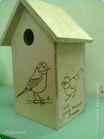 вот такой сквореник, наш папа сделал ребенку в сад. материал фанера, трафареты птиц взяза с просторов необъятного интернета фото 2