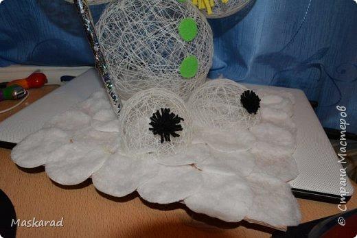в основе несколько воздушных шаров, обмотанных ниткой, смоченной в клее ПВА и высушены. после высыхания шары сдать и аккуратно извлечь из заготовки фото 4