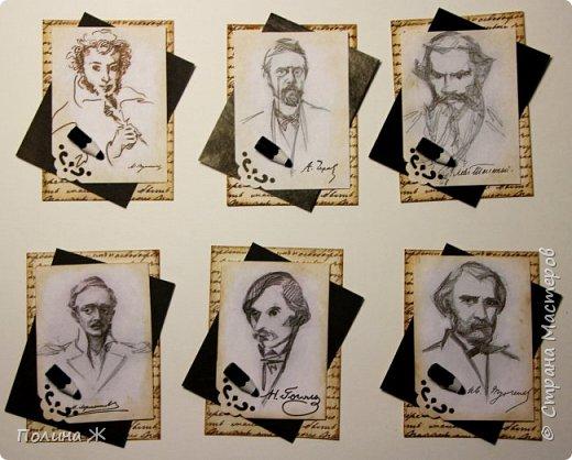 Прочитав не одно произведение классических писателей, пришла мне в голову идея, сделать карточки АТС с любимыми классиками. Список, конечно, можно сделать огромным, но пока остановилась на 6 писателях. фото 1
