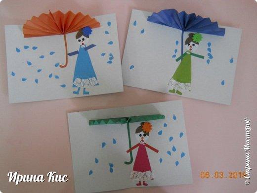 """в контакте несколько раз на глаза попадалась открытка """"Под дождём"""". очень хотелось сделать что-то подобное. немного изменила, сделали подарок бабушке:) фото 1"""