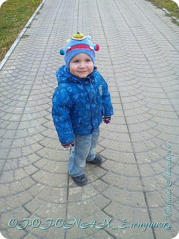 Доброго времени суток вам!Я наконец-то добралась выложить свои работы))))  Вот такая монстро-шапочка повязалась для сына. фото 2