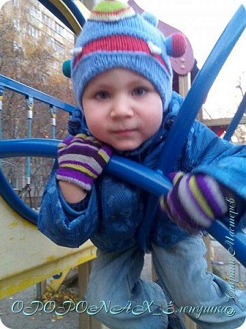 Доброго времени суток вам!Я наконец-то добралась выложить свои работы))))  Вот такая монстро-шапочка повязалась для сына. фото 3