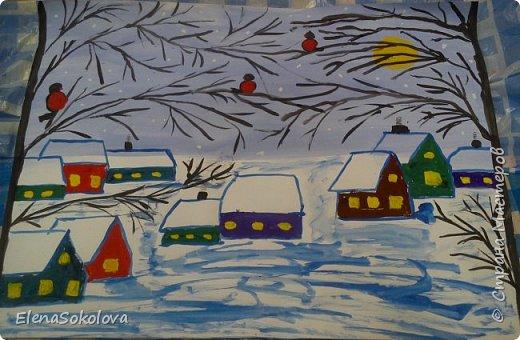 Нарисовали такую картину на тему Зима