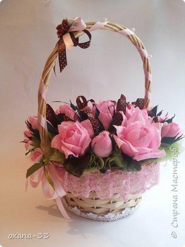Подарочная корзина в нежном розовом цвете. фото 1