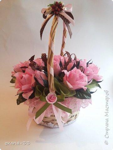 Подарочная корзина в нежном розовом цвете. фото 2