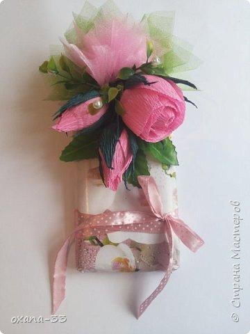 Подарочная корзина в нежном розовом цвете. фото 19