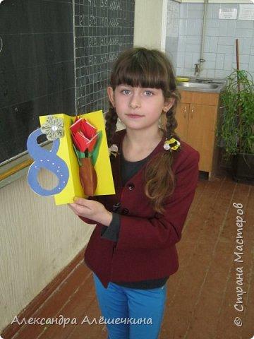 С детьми второго класса сделали открытку мамам на 8 марта. Идею подсмотрела здесь http://stranamasterov.ru/node/52855 фото 2