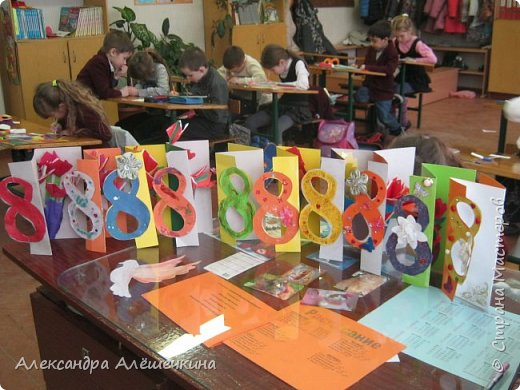 С детьми второго класса сделали открытку мамам на 8 марта. Идею подсмотрела здесь http://stranamasterov.ru/node/52855 фото 1