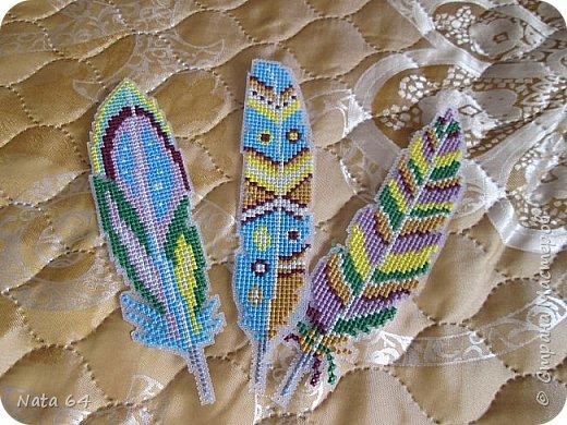 Закладки - перья вышивала на пластиковой канве. Схему нашла в интернете. фото 2