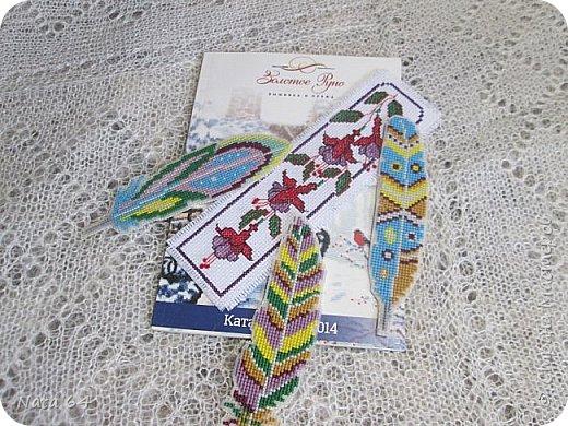Закладки - перья вышивала на пластиковой канве. Схему нашла в интернете. фото 1