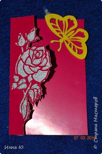 Перед 8 марта мы с дочкой делали поздравительные открытки.Это поздравление сделано на картонной подстановке. фото 3