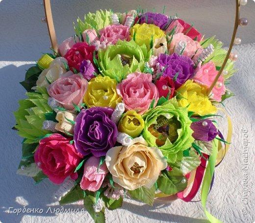 Добрый день,Страна! Сегодня я к вам с работами,сделанными к 8 Марта! Корзина 30 роз и 5 лотосов! фото 2