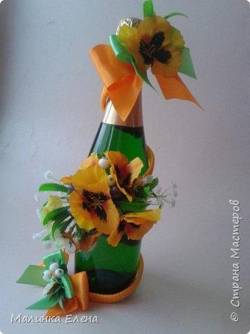 Оформление бутылочек в подарок на 8 марта фото 5