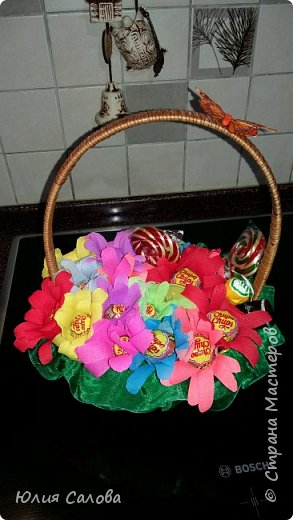 Цветочки из чупа чупсов фото 2