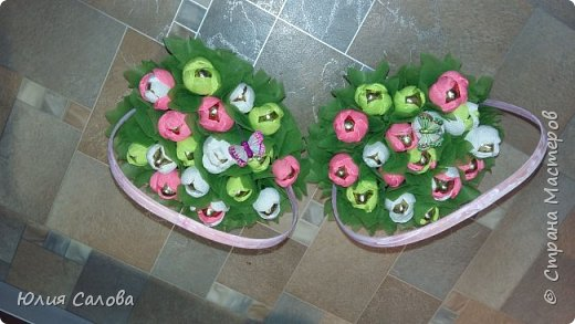 Корзинка с конфетами Тюльпанчики из конфет фото 1