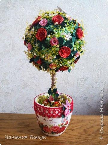 Здравствуйте, дорогие друзья, жители замечательной страны Мастеров!!!! Милые женщины, девушки, девочки!!!!!! От всего сердца хочу поздравить вас с этим прекрасным праздником весны, красоты и любви - с 8-м Марта!!!  Пусть ваша душа до краев наполнится светом, теплом и радостью от искренних пожеланий, нежных цветов, приятных подарков!!! Женщина - это самое прекрасное, что есть в этом мире, поэтому продолжайте и дальше делать его лучшим, принося добро и любовь в этот мир. Побольше улыбайтесь, ведь тем самым вы поднимаете настроение всем вокруг. Будьте всегда счастливыми, довольными, успешными, а главное - любимыми.  К этому чудесному празднику подготовила вот такие подарки!!! Решила сделать топиарии, чтобы они несли счастье и радость в дом!!! Писать много не буду.  Приятного просмотра!!!   фото 1