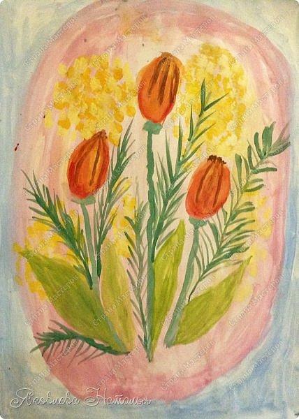 От всей души поздравляю всех женщин с весенним праздником 8 Марта!  Чтобы поздравить мам с этим прекрасным днём, мы со второклассниками нарисовали букеты тюльпанов по МК Ольги, но немного по-другому. Спасибо ей огромное за отличную идею! http://stranamasterov.ru/node/890841 Желаю приятного просмотра! фото 3