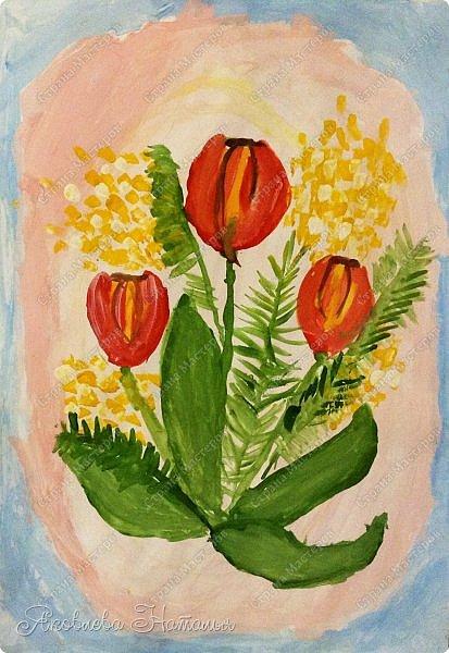 От всей души поздравляю всех женщин с весенним праздником 8 Марта!  Чтобы поздравить мам с этим прекрасным днём, мы со второклассниками нарисовали букеты тюльпанов по МК Ольги, но немного по-другому. Спасибо ей огромное за отличную идею! http://stranamasterov.ru/node/890841 Желаю приятного просмотра! фото 5