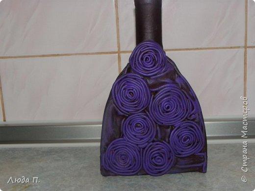 Бутылочка из остатков кожи, розы по мастер классу Нины Валентиновны. фото 2
