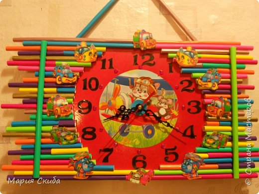 Решили ремонт в детской сделать и чего-нибудь новенького добавить.Подсмотрела здесь: http://stranamasterov.ru/node/340768?c=favorite идею и сделала часики. фото 1