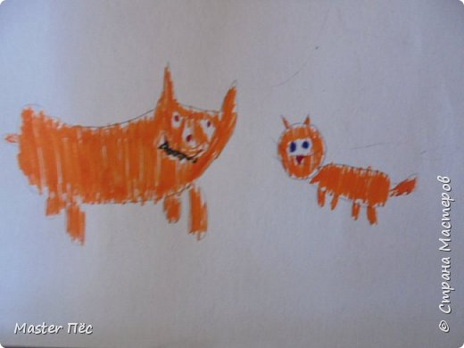 """Всем привет! Сдаю работу на конкурс """"Мои любимые животные""""! (http://stranamasterov.ru/node/1008214) Поскольку я люблю и собак, и котов, я нарисовал котёнка и щенка. Работу назвал """"Два рыжих друга"""". Техника: Рисование и живопись. (Рисовал карандашом и фломастерами) фото 2"""
