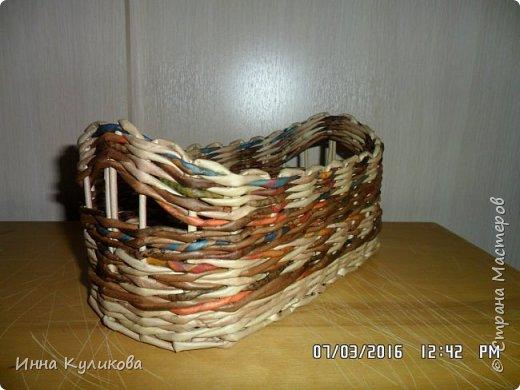 Плетение из бумажной лозы.Начало фото 7