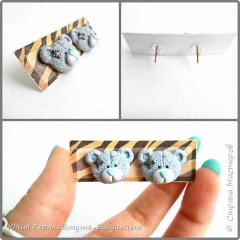 Серьги с декором полимерной глиной фото 6
