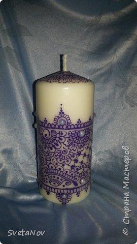 Мой первый опыт по росписи свечей. Недочетов очень много..., но я учусь. Расписывала акриловыми контурами. фото 1