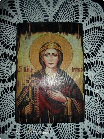 Подруга попросила сделать икону- Святая Ирина. Размер 14х21. Ни капли лака, покрыто воском. фото 1