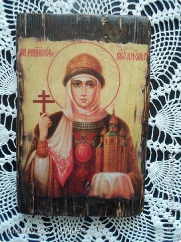 Подруга попросила сделать икону- Святая Ирина. Размер 14х21. Ни капли лака, покрыто воском. фото 2
