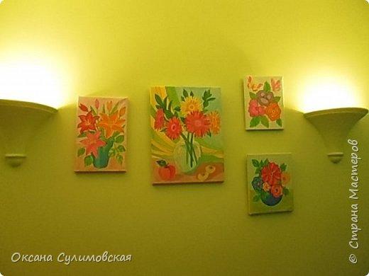 Картины в коридорчике. Все просто мной раскрашены. Купила холст в рисунком и ... Но мне очень даже нравится. фото 1