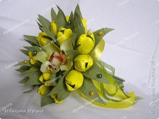 Привет, рукодельницы! С 8 марта Вас!  Пусть сегодня ваша душа до краев наполнится светом, теплом и радостью от искренних пожеланий, нежных цветов, приятных подарков! Пусть ласточки вьют гнезда над вашими окнами и несут в дом благополучие и взаимопонимание, а первые лучи весеннего солнышка укажут на счастливую тропинку вашей судьбе! Искренних вам комплиментов и добрых слов всегда! Покажу Вам свой самый востребованный весенний букетик с тюльпанами и орхидеей...  И ещё... похвастаюсь Вам... Недавно меня пригласили участвовать в телепрограмме на нашем городском телеканале... Никак не могла решиться... И... всё же решилась! Именно по этому букетику с тюльпанами и проводила мастер-класс в передаче) Волновалась очень! Но... Результатом осталась довольна... Кому интересно узнать секретики изготовления букета, прошу в группу https://vk.com/mk.ivakina. Видео сюда не знаю как загрузить(( А вот собственно и он... Был жёлтый... наверное, он мне больше всего понравился... фото 1