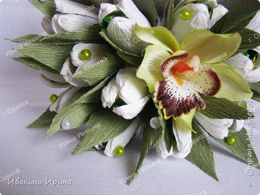 Привет, рукодельницы! С 8 марта Вас!  Пусть сегодня ваша душа до краев наполнится светом, теплом и радостью от искренних пожеланий, нежных цветов, приятных подарков! Пусть ласточки вьют гнезда над вашими окнами и несут в дом благополучие и взаимопонимание, а первые лучи весеннего солнышка укажут на счастливую тропинку вашей судьбе! Искренних вам комплиментов и добрых слов всегда! Покажу Вам свой самый востребованный весенний букетик с тюльпанами и орхидеей...  И ещё... похвастаюсь Вам... Недавно меня пригласили участвовать в телепрограмме на нашем городском телеканале... Никак не могла решиться... И... всё же решилась! Именно по этому букетику с тюльпанами и проводила мастер-класс в передаче) Волновалась очень! Но... Результатом осталась довольна... Кому интересно узнать секретики изготовления букета, прошу в группу https://vk.com/mk.ivakina. Видео сюда не знаю как загрузить(( А вот собственно и он... Был жёлтый... наверное, он мне больше всего понравился... фото 7