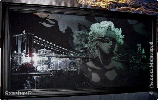 """Картина """"Бруклин"""". Делалась под заказ, но к концу работы заказчик пропал (все общение было дистанционным изначально, около 1000км расстояние). Теперь висит в качестве осветительного панно в коридоре и для вау-эффекта гостей фото 1"""