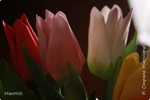 Милые, добрые, очаровательные, женственные и талантливые !!!! Этот букет тюльпанов я дарю всем Вам, жительницы Страны !!!! С праздником !!!  Тюльпаны выполнены из фоамирана. фото 6