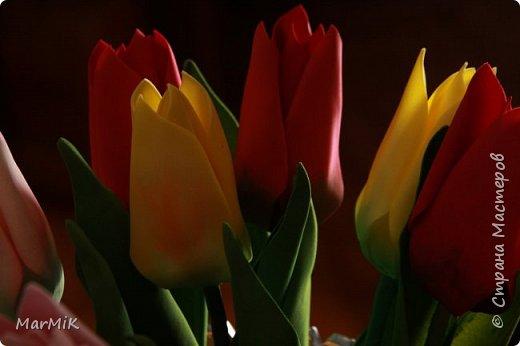 Милые, добрые, очаровательные, женственные и талантливые !!!! Этот букет тюльпанов я дарю всем Вам, жительницы Страны !!!! С праздником !!!  Тюльпаны выполнены из фоамирана. фото 7