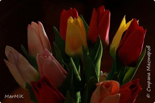 Милые, добрые, очаровательные, женственные и талантливые !!!! Этот букет тюльпанов я дарю всем Вам, жительницы Страны !!!! С праздником !!!  Тюльпаны выполнены из фоамирана. фото 8