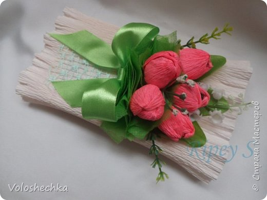 """Милые рукодельницы! Поздравляю вас с 8 Марта!  Этот красивый праздник в начале весны приходит к нам, когда всё оживает, расцветает и распускается. Пусть в вашей жизни будет вечная весна, пусть ярко светит солнце, пусть поют птицы, пусть дни будут светлыми и безоблачными.  Улыбок, хорошего настроения, радости, счастья!  Сделала на 8 марта такие подарочки......приглашаю к просмотру)) Подарочное оформление пастилы """"Шарлиз"""" фото 3"""