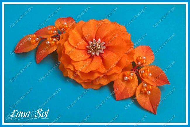 """Доброго времени суток, дорогие гости моего блога!)))  Хочу показать вам свою свою новую заколку для волос """"Amor de otoño"""". Материал: атласные ленты, органза с оранжево-красным оттенком, бусины, проволока, фурнитура Техника: гильоширование фото 1"""