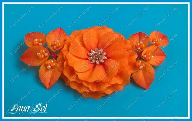 """Доброго времени суток, дорогие гости моего блога!)))  Хочу показать вам свою свою новую заколку для волос """"Amor de otoño"""". Материал: атласные ленты, органза с оранжево-красным оттенком, бусины, проволока, фурнитура Техника: гильоширование фото 4"""