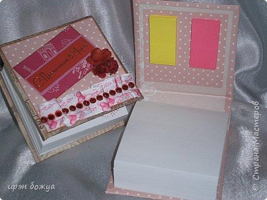 Это заказ мужа для сотрудниц на работе. Для него я сделала блоки для записей в индивидуальной упаковке.Ну и конечно коробка конфет каждой. фото 3