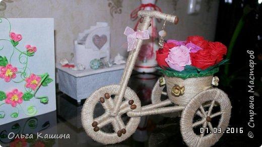 Первый мой шпагатный велосипед. Розочки из салфеток фото 1