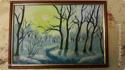 Всем привет!) Хочу показать мои новые работы. Приятного просмотра!) Первая - рисунок акриловыми красками, новогодний подарок папе. фото 1