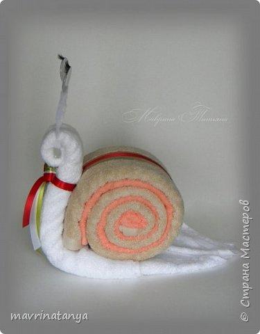Здравствуйте! Сотворилась в подарок вот такая улитка из полотенец. На ее изготовление потребовалось: полотенце (50*90 см) - 3 шт., синельная проволока, бегающие декоративные глазки, атласная лента. фото 2
