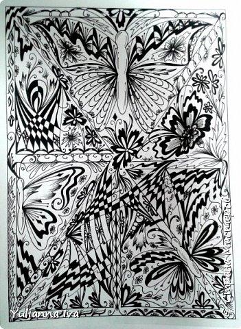 """И снова тянет меня рисовать, никак не могу остановиться ;))) Итак. """"Бабочки"""". Сколько бабочек Вы видите? фото 1"""