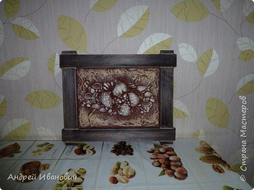 размеры 40х30 рамка дерево декорированная шпагатом шпатлёвка акриловые краски ракушки  фото 4