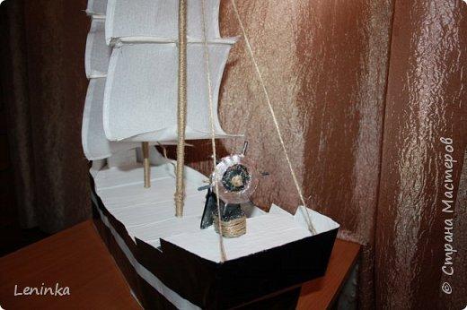 Вот такой кораблик я сделала на 23 февраля старшему сыночке! Ребенок был в восторге! В него положила подарок, сын не сразу нашел.У многих мастериц есть лучше выполненные корабли, но я только учусь и прошу строго меня не судить. фото 3