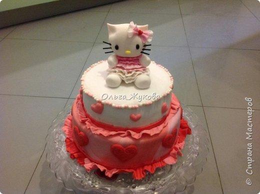 Тортик Китти на день рождения.  Покрытие торта и фигурка из сахарной мастики. фото 1